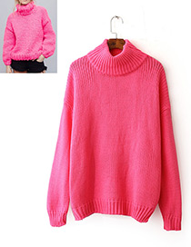 Fashion Pink Pure Color Decorated Long Sleevs Sweater