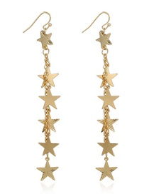 Fashion Gold Color Star Shape Decorated Long Earrings