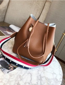 Fashion Light Brown Tassel Shape Decorated Bag (3pcs)