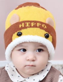 Lovely Yellow Fuzzy Ball Decorated Child Plus Cashmere Cap(0-2 Years Old )