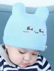 Lovely Light Blue Smiling Face Pattern Decorated Child Thin Cap(0-2 Years Old )