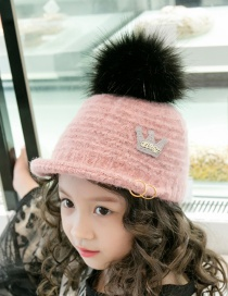 Lovely Pink Crown&fuzzy Ball Decorated Child Cap(3-7 Years Old )