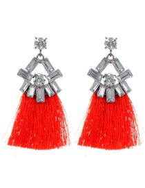 Fashion Red Geometric Shape Diamond Decorated Tassel Earrings