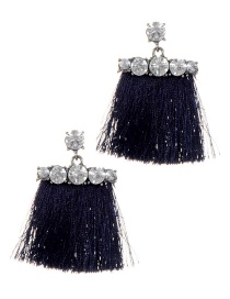 Fashion Navy Long Tassel Decorated Simple Earrings