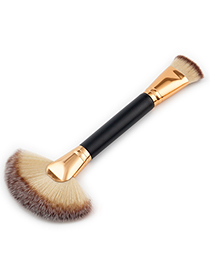 Trendy Gray+coffee Sector Shape Decorated Makeup Brush