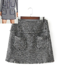 Fashion Gray Pure Color Decorated Simple Skirt