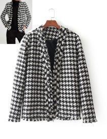 Fashion White+black Grid Pattern Decorated Long Sleeves Coat
