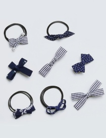 Fashion Dark Blue Bowknot Shape Decorated Hair Band ( 8 Pcs)