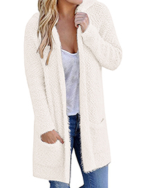 Fashion White Pure Color Decorated Knitting Cardigan