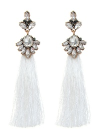 Bohemia White Oval Shape Diamond Decorated Tassel Earrings