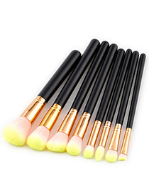 Fashion Yellow Color-matching Decorated Brush (8pcs)
