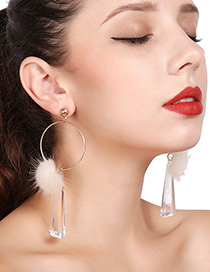 Fashion Gold Color Fuzzy Ball Decorated Earrings