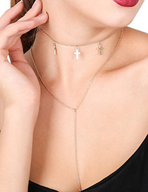 Elegant Gold Color Cross Shape Decorated Double Layer Necklace
