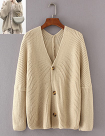 Vintage Beige Pure Color Decorated Knitting Cardigan