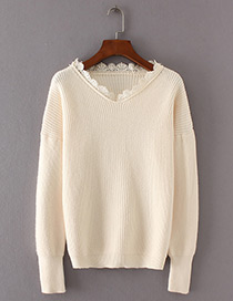 Fashion Beige Lace Shape Decorated Sweater