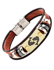 Personality Brown Pisces Decorated Multilayer Bracelet