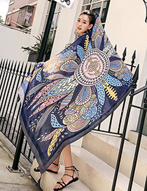 Fashion Navy Leaf Shape Decorated Scarf