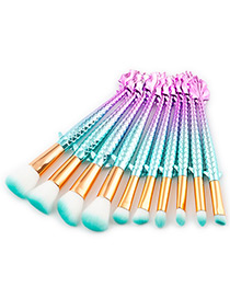Fashion Blue Mermaid Shape Decorated Brushes (10pcs)
