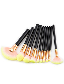 Fashion Yellow Fan Shape Decorated Brushes (10pcs)
