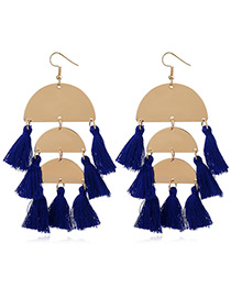 Bohemia Blue Semicircle Shape Decorated Tassel Earrings