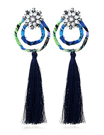 Bohemia Blue Double Round Shape Decorated Tassel Earrings