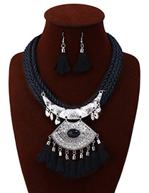 Exaggerated Black Tassel Decorated Jewelry Sets