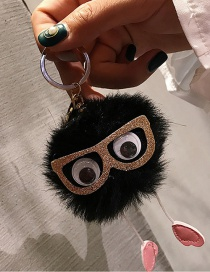 Cute Black Sunglasses Decorated Key Chain