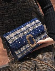 Vintage Blue G Shapebuckle Decorated Bag