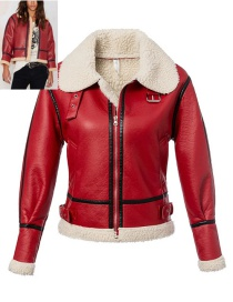 Fashion Red Pure Color Decorated Jacket