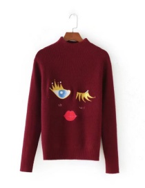 Vintage Claret-red Eye Shape Decorated Sweater