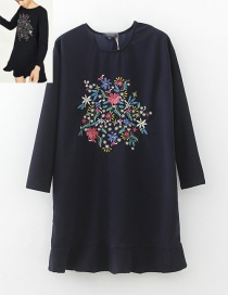 Fashion Black Flower Shape Decorated Dress