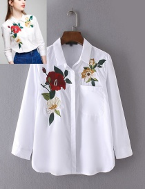 Fashion White Embroidery Flower Shape Decorated Long Shirt