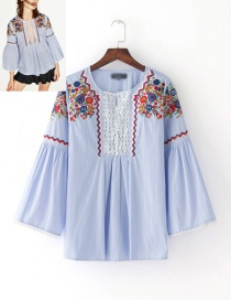 Lovely Blue Lace Decorated Blouse