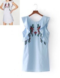 Lovely Blue Embroidery Flower Shape Decorated Dress