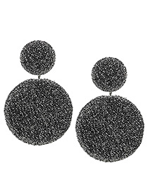 Elegant Gray Round Shape Decorated Earrings