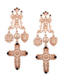 Fashion Gold Color Cross Shape Decorated Earrings
