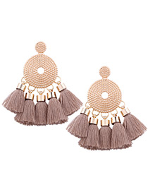 Bohemia Light Brown Round Shape Decorated Tassel Earrings