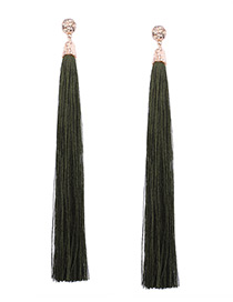 Bohemia Army Green Pure Color Decorated Long Tassel Earrings