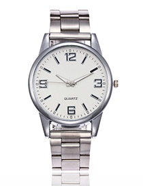Elegant Silver Color Pure Color Decorated Watch