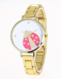 Elegant Gold Color Coccinellapattern Decorated Watch