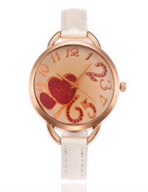 Lovely White Double Heart Shape Decorated Watch