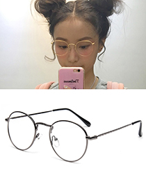 Fashion Gun Black Round Shape Decorated Glasses