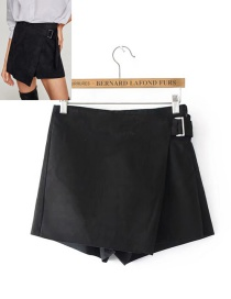 Fashion Black Pure Color Decorated Shorts