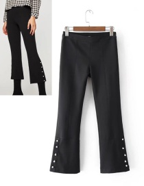 Fashion Black Pure Color Decorated Trousers