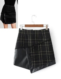 Fashion Black Grid Pattern Decorated Skirt