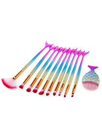 Fashion Gold Color+pink+blue Mermaid Shape Decorated Makeup Brush (11 Pcs)