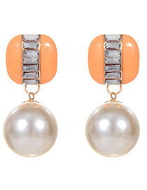 Fashion Orange Color Matching Decorated Earrings