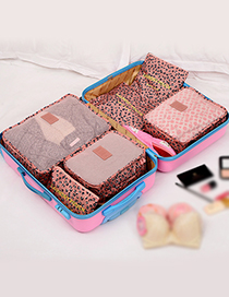 Fashion Pink Leopard Pattern Decorated Storage Bag ( 6 Pcs)