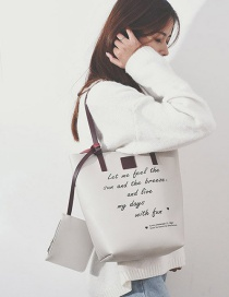 Fashion White Letter Pattern Decorated Shoulder Bag