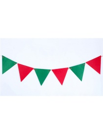 Fashion Red+green Triangle Shape Flag Decorated Christmas Ornaments(8pcs)